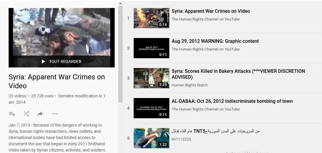 Sur youtube, les preuves de crimes de guerre syriens sont compilées
